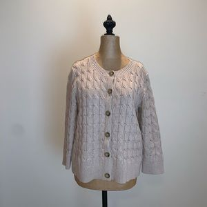 Talbots Cable-knit 3/4 sleeve tan cardigan #3601